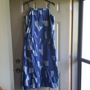 POCKETS! GAP Blue Abstract Print Casual Maxi Dress